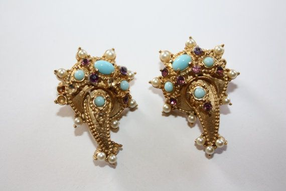 Vintage Earrings Hollycraft Turquoise amethyst seed by patwatty, $6.00