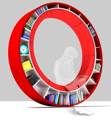 round-sofa-bookcaseRound Sofas, Bookshelf Design, Home Libraries, Spaces Saving, Book Storage, Bookcas, Book Shelves, Contemporary Design, Creative Bookshelves