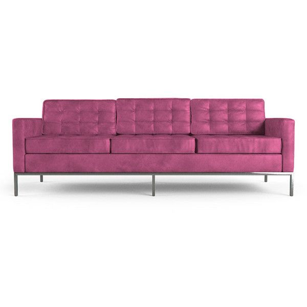 Joybird Furniture Franklin Mid Century Modern Pink Leather Sofa ($4,999) ❤ liked on Polyvore featuring home, furniture, sofas, pink, leather couch, tufted couch, mid century modern leather sofa, mid century leather sofa and pink leather sofa