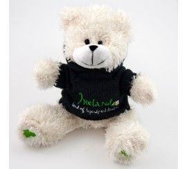 "8"" White Bear with Black Hooded Sweater Soft Toy."