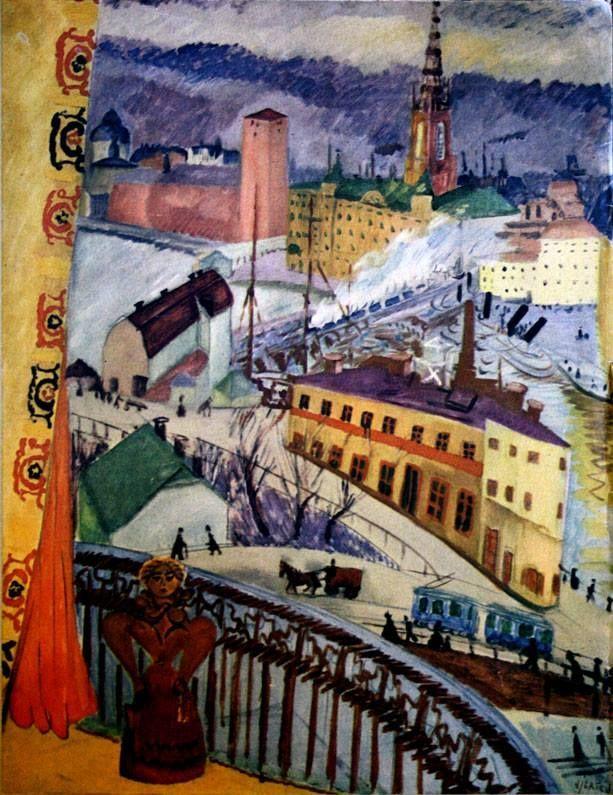 Sigrid Hjertén - Utsikt över Slussen 1919