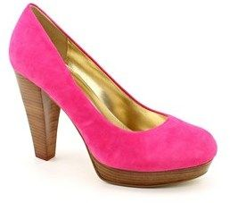 Chinese Laundry Keep Up Women Round Toe Suede Pink Heels.