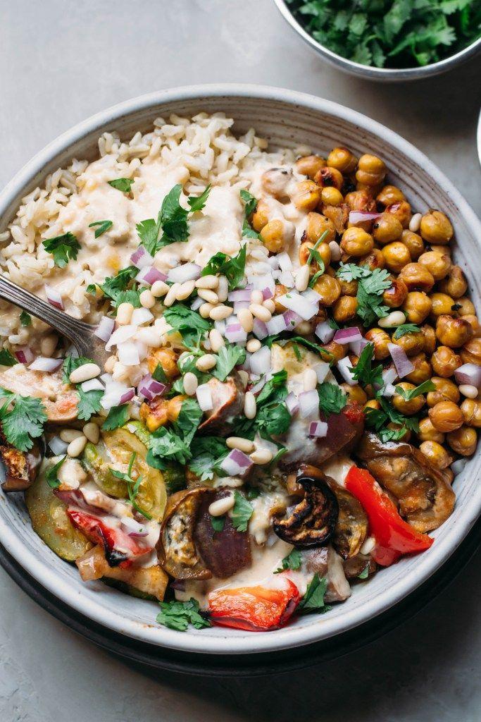 moroccan spiced chickpea + veggie bowl with mango tahini sauce