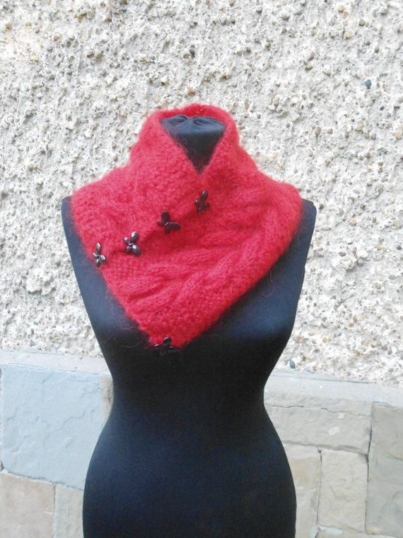 Knitted Cowl Neckwarmer, Knitted Red Scarf, Christmas Gift, Chic Elegant Woman Winter - Knitting creation by etelina   Knit.Community