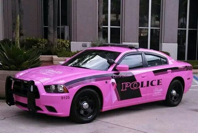 Orlando Police Department presented officer Karen Long with this pink police cruiser to honor her her fight against breast cancer & to support breast cancer awareness month.