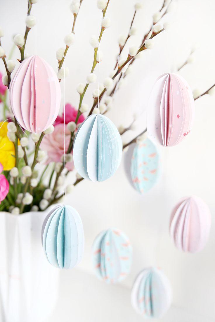 Kreative DIY-Idee zum Selbermachen: DIY-Eier aus Papier zum Aufhängen.