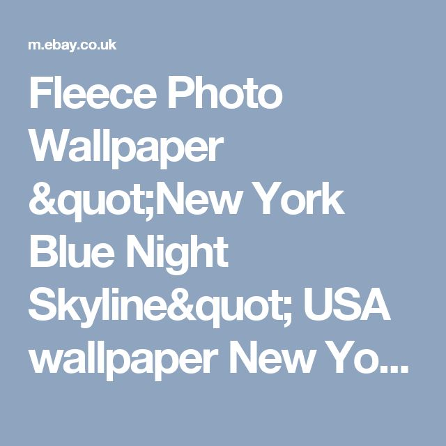 "Fleece Photo Wallpaper ""New York Blue Night Skyline"" USA wallpaper New York City  | eBay"