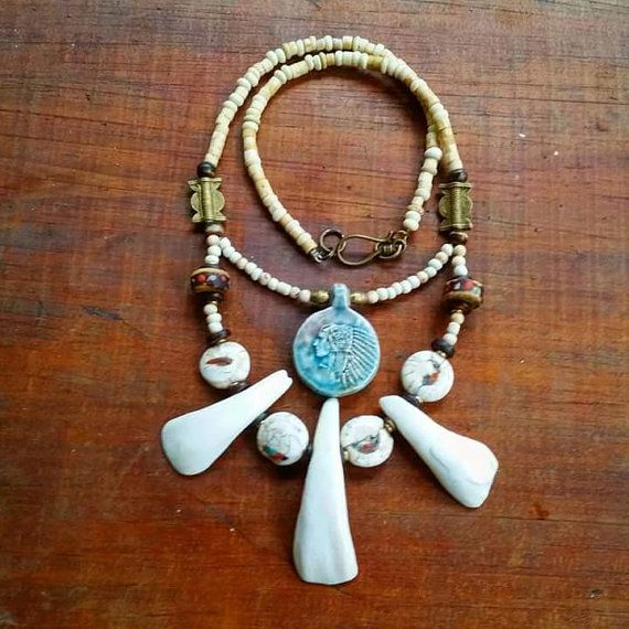 Mans/Unisex tribal buffalo tooth necklace by AngelsJewelleryOz