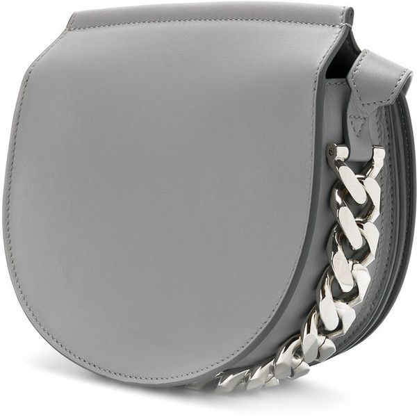 Givenchy Infinity mini saddle bag ($1,890) ❤ liked on Polyvore featuring bags, handbags, shoulder bags, shoulder strap bags, leather saddle bags, grey shoulder bag, grey leather shoulder bag and saddle bags