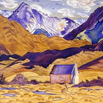 Rita Angus Mountains Cass 1936. Watercolour. Collection of Christchurch Art Gallery Te Puna o Waiwhetu, presented by Robert Erwin in 1985 in memory of Lawrence Baigent. Reproduced courtesy of the Rita Angus estate