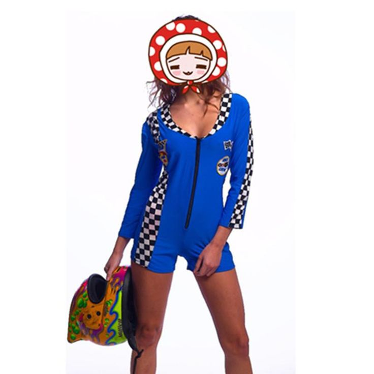 free shipping Blue Miss Racer Racing Sport Driver Costume Super Car Grid Girl Fancy Dress Outfit sexy costume playsuits