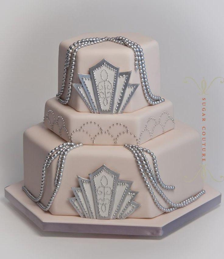Lynn's blush pink and silver art deco wedding cake