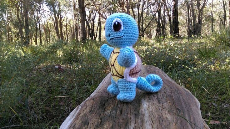 'Squirtle' - Pokémon.   Project information and pattern link here; http://www.ravelry.com/projects/LindaDavie/baby-squirtle