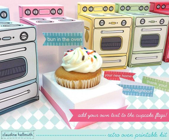 Claudine Hellmuth...retro oven -  cupcake box, party favor box, gift card holder, paper toy printable PDF kit - INSTANT download