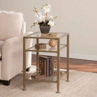 Round Glass Top Metal End Table | Overstock.com Shopping   The Best Deals On