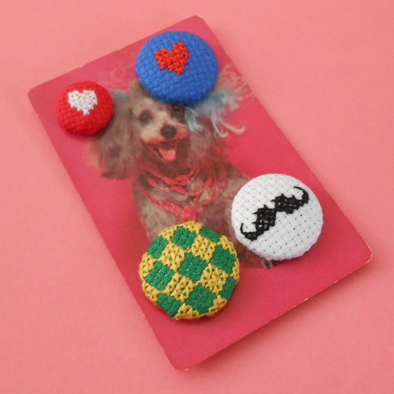 Set of 4 Assorted Hand Sewn Cross Stitch Buttons with by Magasin, £6.00