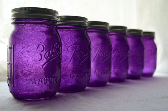 Stained Mason Pint Jars Passionately Purple. Hey Horned Frogs, do some festive Frog homesteading with these purple mason jars. Great for beverage glasses as well.