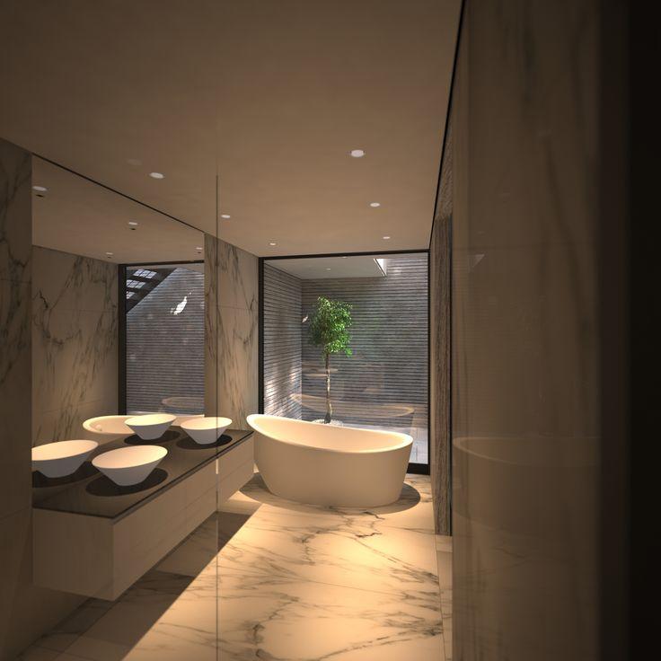 3D Render - A contemporary Master Bathroom