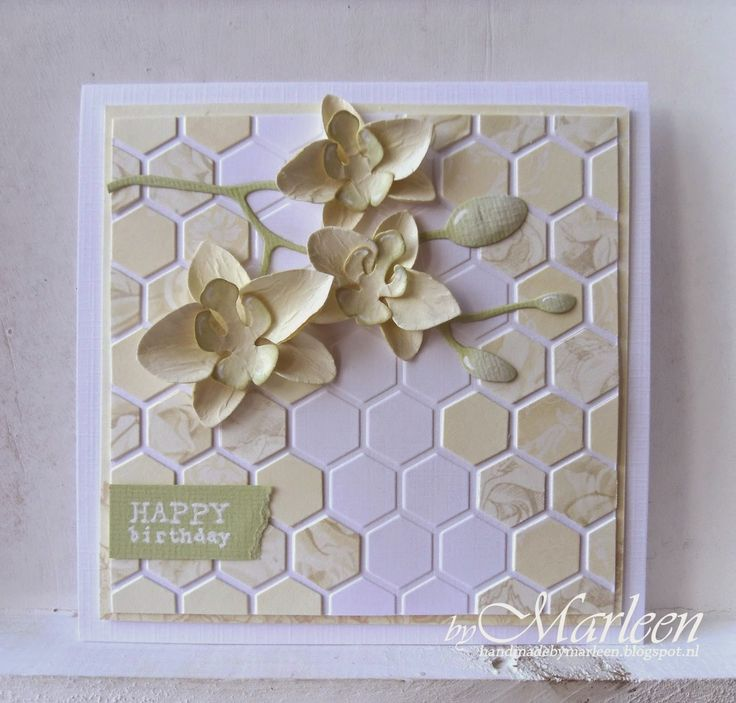 Card by DT member Marleen with Collectables Orchid (COL1379) and Design Folder Extra Chickenwire (DF3404) by Marianne Design