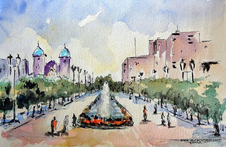 Venezuela. Maracaibo. Plaza de la chinita. Watercolor. Acuarela