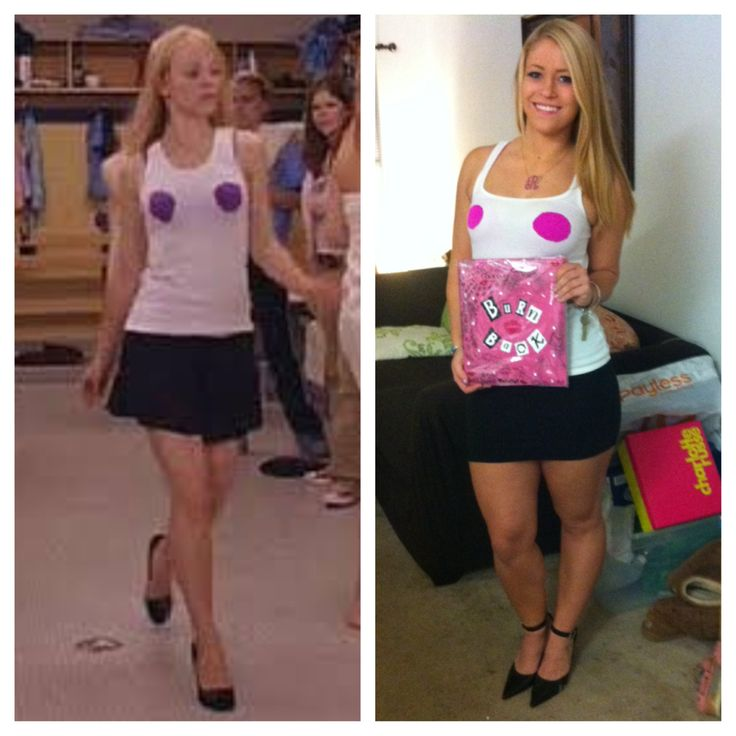 """DIY Regina George Halloween Costume, College Halloween Costume,  You need... 1. white tank top 2. black skirt 3. pointed toe heels 4. """"R"""" necklace 5. Purple-ish colored bra 6. A pink scrap book.  Whala,  Cut two holes in your white tank top and google the burn book and re-create it to your best ability! For my burn book i used puffy paint and black sharpie as well as a little bit of black eye shadow to give it that aged look."""
