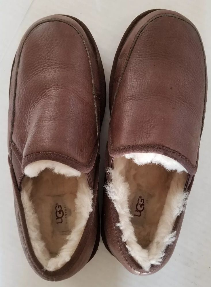 5a85f81e1e0 Mens UGG Australia Clog Slippers Shearling Brown Leather Size 8 ...