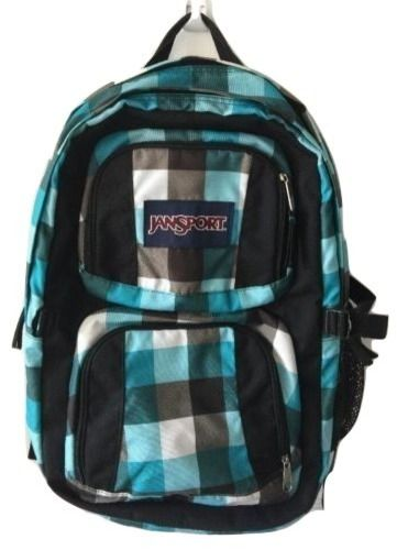 Jansport Teal Turquoise Plaid Double Zipper Laptop Sleeve Computer Backpack EUC  | eBay
