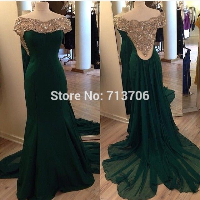 Sml064 verde esmeralda da sereia da luva do tampão frisado Chiffon 2014 elegante longos vestidos de noite em Vestidos de Noite de Casamentos e Eventos no AliExpress.com | Alibaba Group