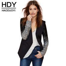 Hdy haoduoyi magro mulheres pu patchwork casacos completo manga lantejoulas prata preto casaco de inverno de moda para atacado alishoppbrasil
