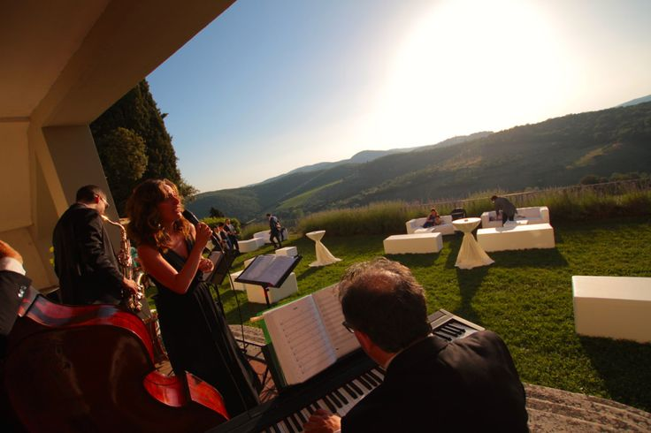 Italian jazz band performing at a destination wedding reception at Villa Vistarenni, Siena, Italy.   Music by Musica Evento