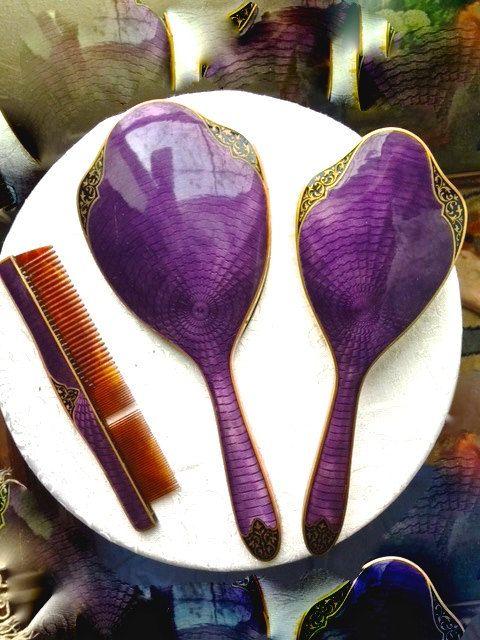 Mesmerizing Royal Purple Guilloche Enamel Vanity Set by Carriannes