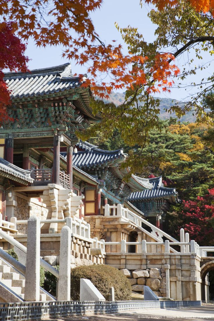 South Korea, Gyeongju, Bulguksa Temple, Facade of a Buddhist temple