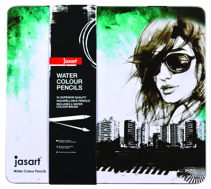 Jasart Water Colour Pencil Design Tin 24, $24.95 (http://www.artshedonline.com.au/jasart-water-colour-pencil-design-tin-24/)