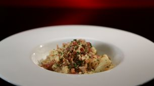 Cavatelli with Cauliflower Sauce and Pangrattato  Roll pasta on sushi mat