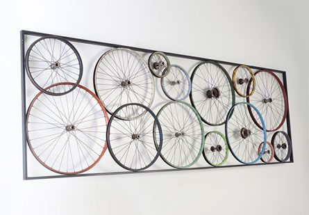 Walls of wheels! Phillips Collection - Bicycle Wheel Panel #interior #design #interiordesign