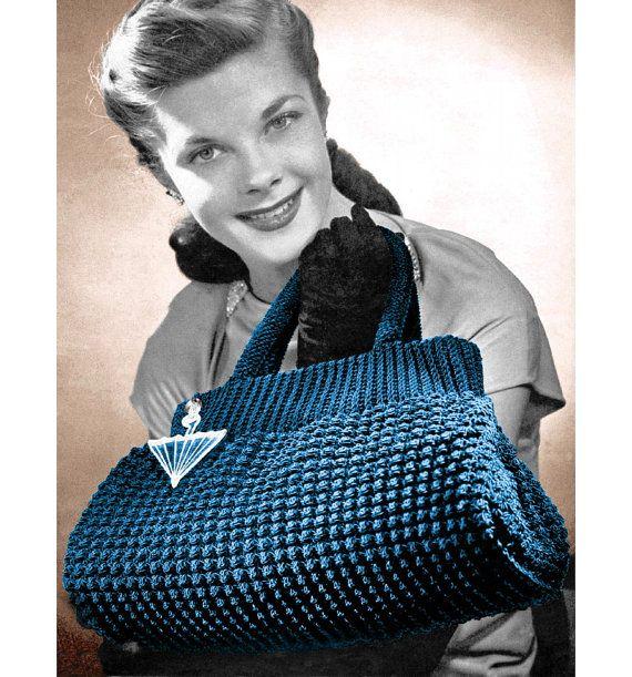 1940s Crocheted Doctor Bag Purse Tote Handbag by 2ndlookvintage, $3.00