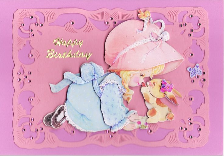 3D girl and bunny Card (by Tassie Scrapangel)