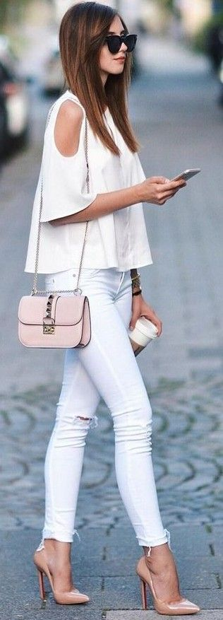 #summer #trending #outfits |  All White + Pop Of Nude