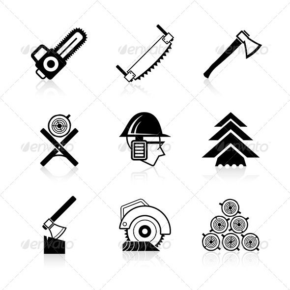 Woodworking Icon Set by koctia 9 black & white icons of carpenter equipment and materials