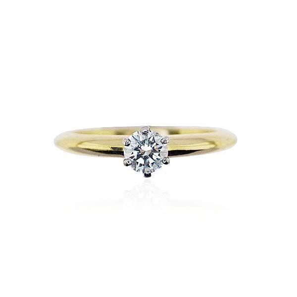 Tiffany Solitärring 0,327ct Diamant in 750 Weissgold-Gelbgold #schmuck #vintage #tiffany #ring #schmuckboerse