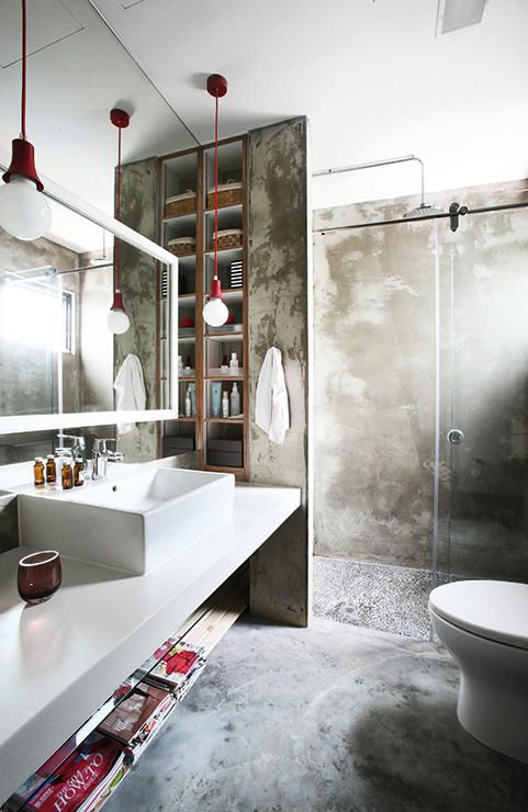 concrete bathroom #decor #bathrooms #banheiros