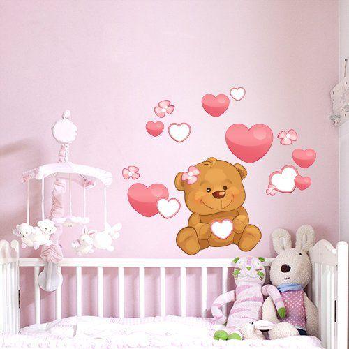 Adesivo-murale-per-bambini-Wall-Art-Orsetto-cuori-e-fiori-Misure-30x60-cm-Decorazione-parete-adesivi-per-muro-carta-da-parati-0.jpg (500×500)
