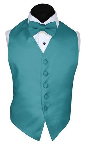 Little BOYS Tuxedo Vest TEAL Satin