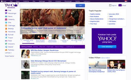 Tampilan Homepage Yahoo Terbaru