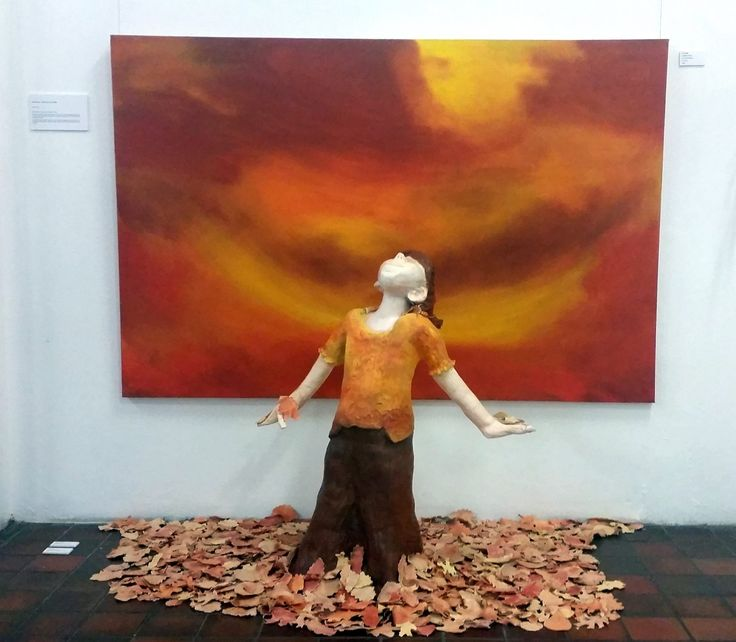 """""""Once upon a Yarra Valley Autumn"""" Clay sculpture of my daughter Ruby airbrushed porcelain leaves re-created by hand and airbrushed from leaves in the Yarra Valley and Canvas Painting in Oil"""
