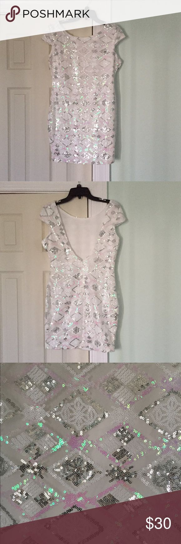 White sequin mini dress Features low back! Says large fits more like a medium! NWT! shop hope's Dresses Mini