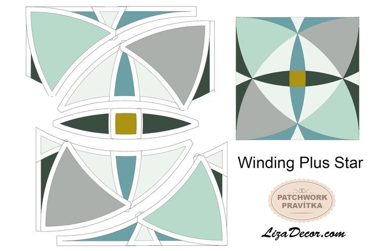 Patchwork Winding Plus Star - Patchworková šablona LizaDecor #šablony #střihy #tutorial #video #windingways