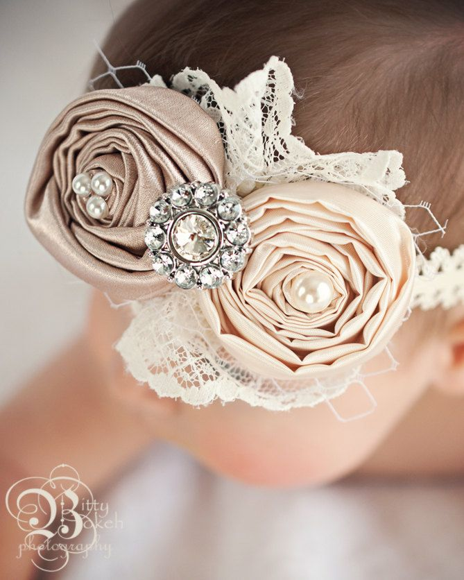 Newborn headband...Baby Headband.....Vintage inspired Hair bow in Ivory and Champagne.....girls....teenager...and women. $14.50, via Etsy.