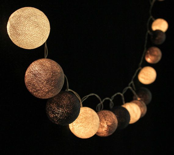 35 Soft Gray Cotton Ball String Lights for Bedroom by LivingPastel