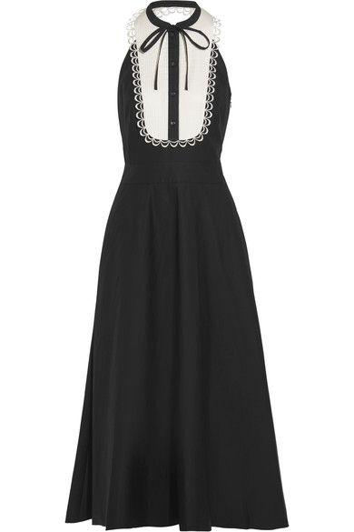 Temperley London - Fountain Lace-trimmed Cotton-poplin Midi Dress - Black - UK10
